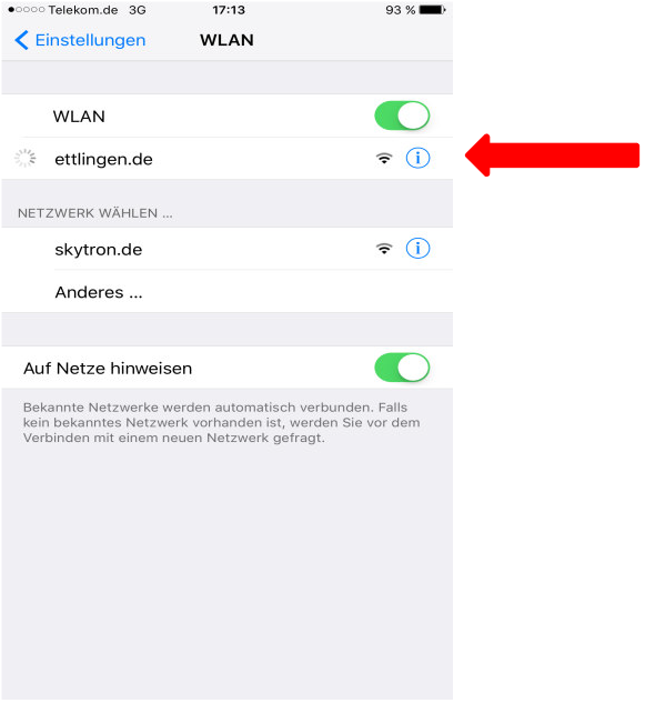 How to use free WIFI Ettlingen