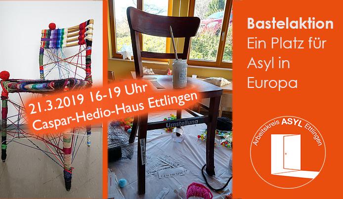"""Asylstuhlaktion """"Ein Platz für Asyl in Europa"""""""