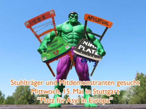 "Asylstuhlaktion ""Platz für Asyl in Europa"""